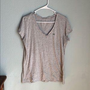 Gray Lacoste b neck t shirt